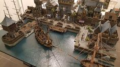 Providence - Medieval City Port Miniature - by Chris Da Silva Fantasy Town, Fantasy Map, Fantasy Places, Medieval Fantasy, Sci Fi Fantasy, Building Map, Building Concept, Medieval Houses, Medieval Town