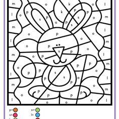 Twaalf pagina's vol kleuren op code: drie cijferkleurplaten, drie letterkleurplaten, drie kleurplaten waar de kinderen op korte woorden kleuren, drie kleurplaten met kleuren op dobbelsteenbeelden. Coloring Pages, Homeschool, Crafts For Kids, Easter, Kids Rugs, Printables, Education, Spring, Colouring In