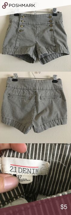 Olive Striped shorts Forever 21 denim striped shorts- gently used and ready for a new home! They are too big for me now :( Forever 21 Shorts Jean Shorts