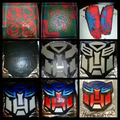 January 2014: Transformers Autobot cake I made for my sons 5th birthday. Colored the cake mix red & blue, tinted chocolate frosting black, used white fondant to make autobot face & painted it w/ gel coloring.