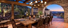 This breathtaking indoor-outdoor dining area was completed by Schultz Development. Property Real Estate, New Property, Outdoor Rooms, Outdoor Dining, Indoor Outdoor, Dining Area, Dining Room, Porches, Fresco