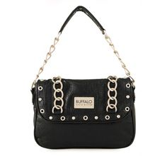 4/6/2012  Price: $24.99  + FREE SHIPPING Buffalo by David Bitton Chain Link Series Christy Shoulder Design Handbag in Black