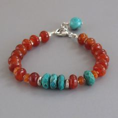 Fire Agate Turquoise Gemstone Sterling Silver Bead by DJStrang, $68.00