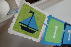 It's A Boy Banner, Sailboat It's A Boy, Nautical, Baby Shower, Blue and Green. $16.00, via Etsy.