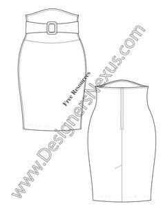 Belted High-Waist Pencil Skirt Flat Fashion Sketches Illustrator V30 - FREE Adobe Illustrator & PNG download at www.designersnexus,com! #fashionflats #technicalflats #CADflats #fashionsketch #fashiondrawing #flatsketches #fashiondesign #fashiontemplates