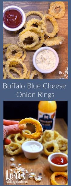 Oh my! Buffalo Blue Cheese Onion Rings that are baked, not fried. The addition of the buffalo wing sauce made these craveable rings incredible!