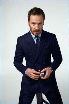 Cédric Buchet photographs Michael Fassbender in a pinstripe Burberry suit for Esquire.