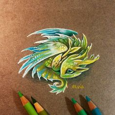 Forest or air baby dragon? You can see a miniature prints of my hatchling dragons serie for small pendants (: &n. Cute Dragon Drawing, Dragon Sketch, Dragon Drawings, Little Dragon, Baby Dragon, Creature Drawings, Animal Drawings, Fantasy Drawings, Fantasy Art