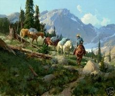 Golden Lakes Trail by Bill Anton S/N LE Western Canvas Giclee Cowboy Pack Horses #Realism