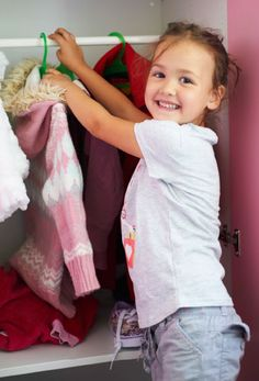 Hanging storage is placed at the kids' eye level.