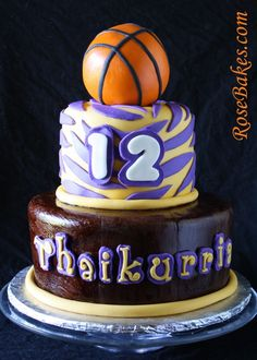 LSU Basketball Birthday Cake.  Click over to see more pics and details!  All edible.