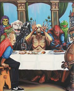 """""""The Best Supper""""  Acrylic on canvas, 2012  (based on Hans Holbein the Younger's """"The Last Supper"""")"""
