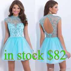 2015 Short Sky Blue Homecoming Dresses Prom Gowns Backless IN STOCK A-Line High Neck Crystal Beaded Formal Gown Cocktail Graduation Dresses Online with $93.99/Piece on Magicdress2011's Store | DHgate.com