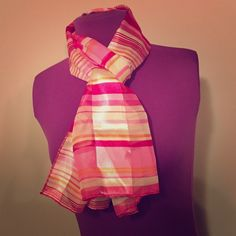 Striped Damask Scarf Pink, orange and cream striped scarf. Measures approximately 14x60 Accessories Scarves & Wraps