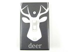 Gray Deer Light Switch Plate Cover - Choose Your Color - Woodland Nursery, Forest Nursery, Deer Head Silhouette, Child Decor
