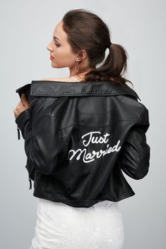 Just Married Embroidered Vegan Leather Moto Jacket Style Black, Rocker Wedding, Elopement Wedding Dresses, Wedding Jacket, Biker Wedding Dress, Vegan Leather Jacket, Leather Jackets, Wedding Looks, Just Married, Davids Bridal