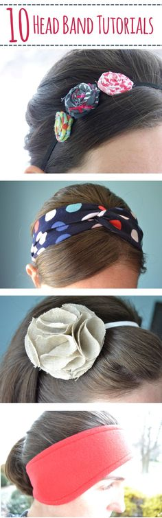 10 Headband Tutorials – Mary Martha Mama- 10 DIY head band tutorials- some no-sew, some sewing, knit, felt
