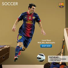 Soccer Fathead Wall Graphics - Kids favorite sports player! My daughter loves Lional Messi.