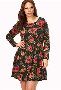 Earthy Floral Skater Dress | FOREVER21 PLUS - 2000065391