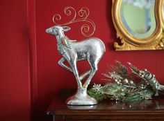 Silver & gold reindeer with wire antlers