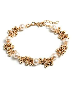 Look what I found on #zulily! Freshwater Pearl & Gold Ball Bracelet #zulilyfinds