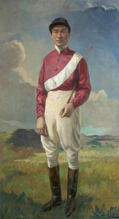 Portrait of Stephen Donoghue (1884–1945) by John A.A. Berrie (1887-1962). Donoghue was one of the most celebrated horse racing sportsmen and a leading English flat-race jockey in the 1910s and 1920s. He was Champion Jockey ten times between 1914 and 1923. Here he is in his silk colours and with tool of his trade, a riding whip.