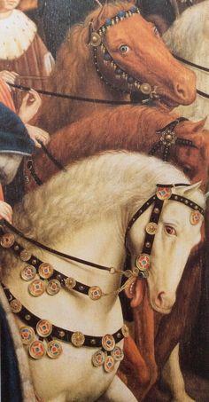 "Jan van eyck, 1432, Ausschnitt aus ""die gerechten Richter"" Medieval Horse, Medieval Art, Renaissance Art, Jan Van Eyck, Hieronymus Bosch, Rembrandt, Horse Harness, Horse Tack, Horse Posters"