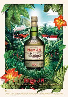 • Client : Rhum JM • Direction Artistique & illustration : Chic • Photographie : les ateliers • Visuel de marque - Le trésor de la Martinique se découvre dans une illustration de l'iconique distillerie JM. Tequila, Sugarcane Juice, Vintage Cafe, Bottle Packaging, Beach Bars, Vintage Posters, Whiskey Bottle, Liquor, Alcoholic Drinks