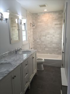 Beau Gray And White Master Bathroom