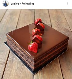 YES OR NO? Chocolate cake with strawberries repost i love so much! Chocolate Strawberry Cake, Strawberry Cakes, Chocolate Desserts, Chocolate Cake, Brigadeiro Chocolate, Rocher Torte, Opera Cake, Cake Recipes, Dessert Recipes
