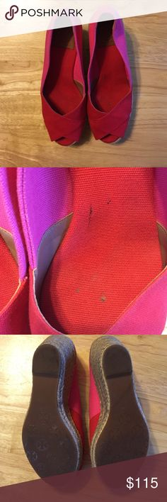 "Tory Burch Filipa Wedge Espadrilles Tory Burch Filipa Wedge Espadrilles. Pink and red. Worn only once. May need a slight cleaning. Has a small stain on the inside of the left shoe (see picture). Wedge heel and rubber sole. 3"" heel but a 1"" platform: feels like a 2"" heel. Very comfortable and easy to walk in. Great for spring or summer. Come with the original box. Tory Burch Shoes Espadrilles"