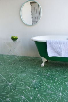 Green tile is trending in interior design. Here are 35 reasons why we can't get enough green tile. For more interior design trends and inspiration, visit domino. Bad Inspiration, Bathroom Inspiration, Contemporary Tile, Hexagon Tiles, Geometric Tiles, Hex Tile, Tiling, Bath Tiles, Mosaic Tiles
