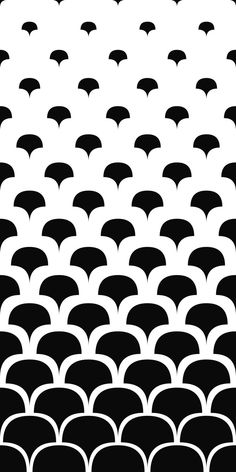Seamless black and white curved shape pattern background