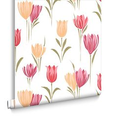 Fresco Great Value Tulip Floral Print Red Wallpaper 50-65…