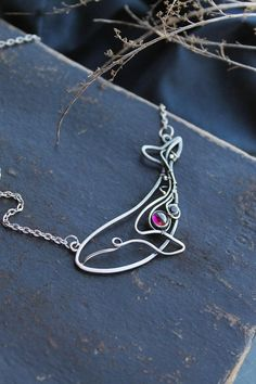 Blue whale silver pendant with rhodolith garnet - Sterling silver jewelry - wire wrapped necklace - gift for women - ooak animal jewelry #wirejewelry