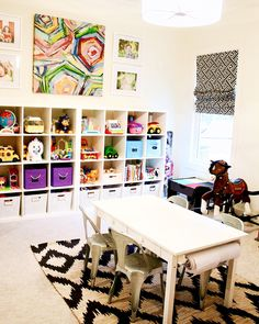 My kids bright and cheery playroom! Love the ikea toy storage and colorful bold print on the wall! They love this playroom!