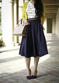 modest work outfit navy pleated skirt mustard cardigan bow pumps, stylish petite, fall work outfit, business outfit, mustard cardigan, stylish petite, petite fashion blog - click the photo for outfit details!