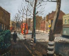 A London Street  by Ruskin Spear.       Date painted: 1944–1945.  Oil on panel, 45.8 x 55.9 cm . Collection: Birmingham Museums Trust.