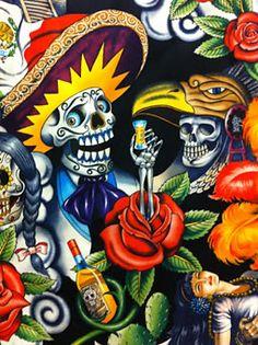 Fabric - Aztec skeleton design
