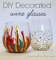 DIY Decorated Wine Glasses - Stemless wine glasses could be used as votives, for flowers, etc. Or you can just enjoy a glass of your favorite Missouri wine in them.