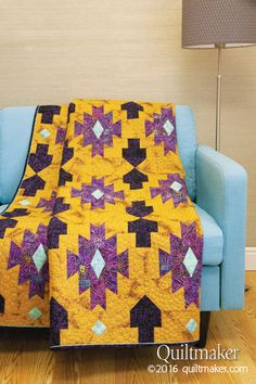 Snowbird quilt pattern: This clever throw-size quilt designed by Peg Spradlin features an earthy design with Southwestern flair.