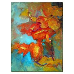 Jean Levert HoodTexas Hill Country Painter: Poppies, Abstracted - new... ❤ liked on Polyvore featuring backgrounds and abstract