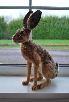 Felted Hare Needlefelted Hare | Etsy Celtic Warriors, Polymer Clay Sculptures, Felt Mouse, Tiny World, Cottage Interiors, Felt Projects, Rose Cottage, Felt Art, Felt Animals