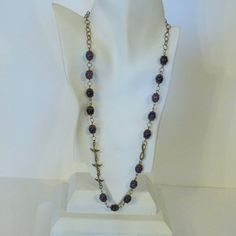 Purple Agate and Bronze Chain Necklace by tbyrddesigns on Etsy, $29.00