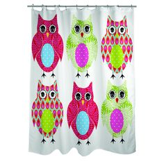 Displaying art by Terri Puma, this whimsical shower curtain will bring your bathroom decor to life. Graced with an adorable owl pattern, this bright, multicolored curtain is fully machine washable for easy clean-up.