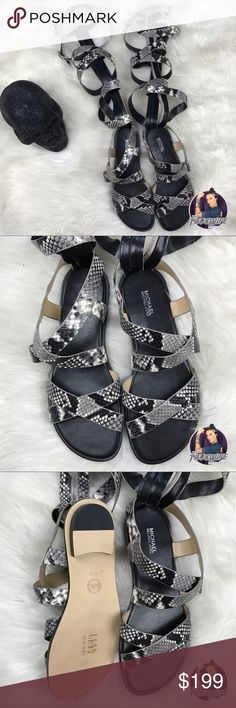Michael kors snake skin zip up gladiators TOO DIE FOR ! Price is firm . You will turn so many heads in these bad boys . Cross cross snake skin lace up knee high gladiator sandals . Perfect chic to your summer ! Michael Kors Shoes Sandals