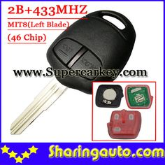 Free shipping (1piece) 2 Button Remote Key MIT8 uncut blade with 46 chip 433MHZ For Mitsubishi Lancer Outlander