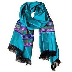 House of Wandering Silk - Afghan silk scarf in turquoise (Af13)