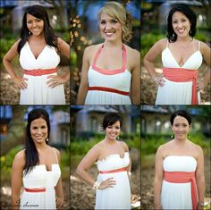 White bridesmaid dresses with teal accents? Good for white wedding but helping the bridesmaids stand out