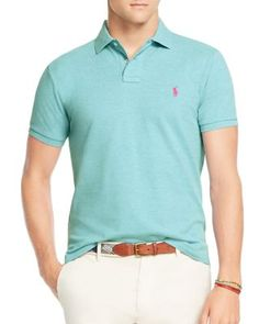 Custom Fit Mesh Polo Shirt, French Turquoise Heather. Polo Shirts OnlineRalph  Lauren ...